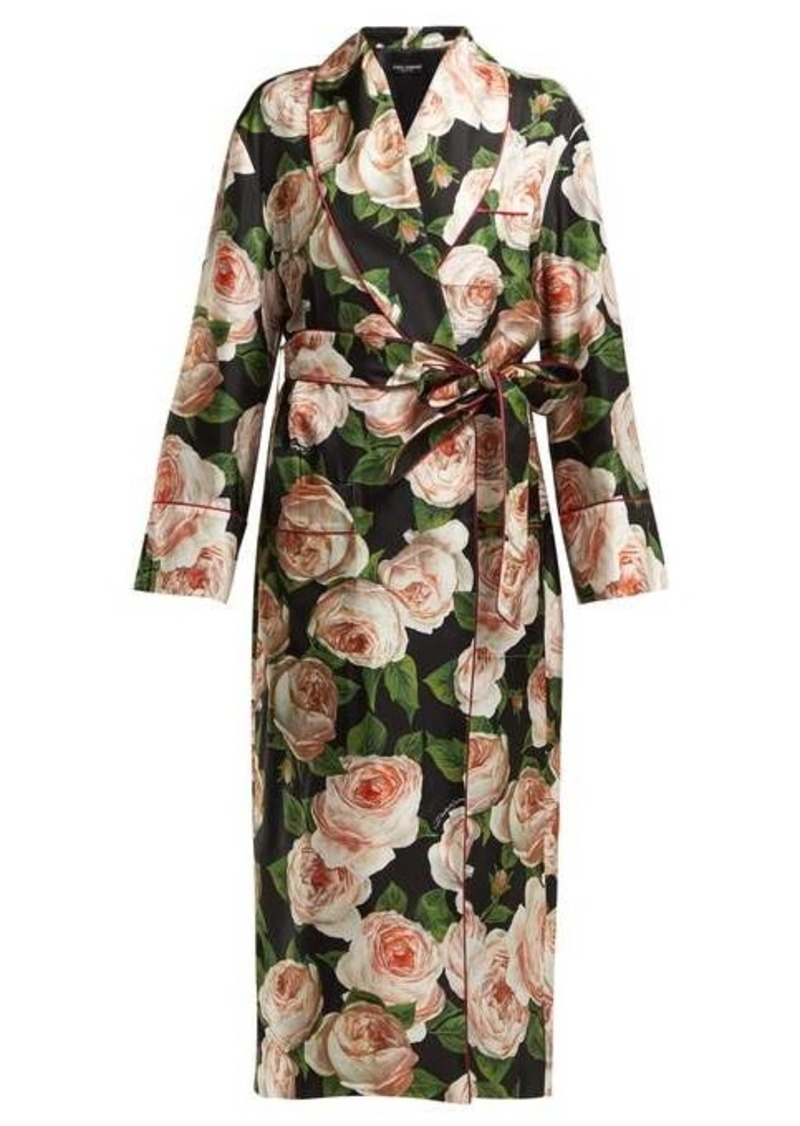 Dolce & Gabbana Rose-print single-breasted silk coat