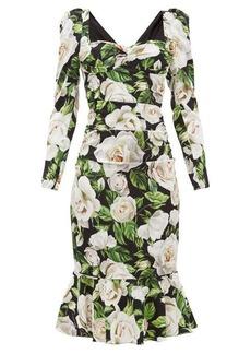 Dolce & Gabbana Rose-print sweetheart-neck silk-blend dress