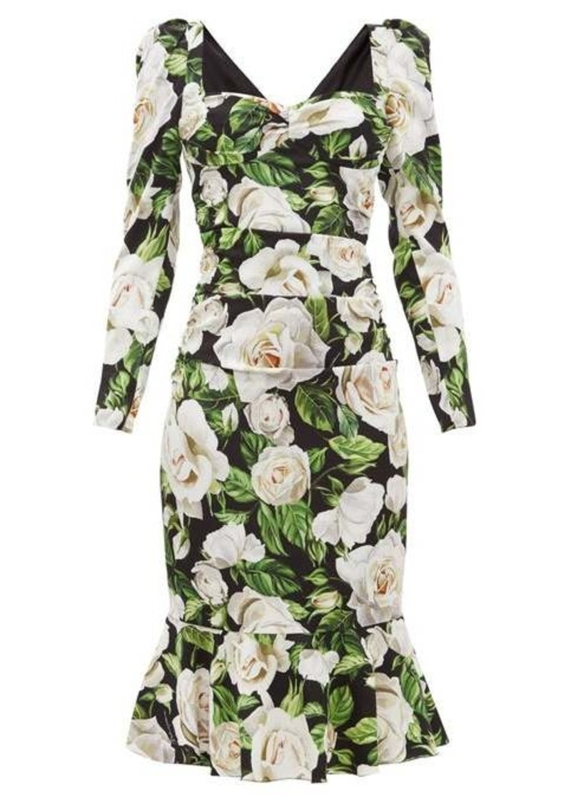 Dolce & Gabbana Rose-print sweetheart-neck silk-blend dress