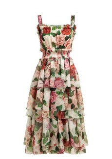 Dolce & Gabbana Rose-print tiered silk-chiffon midi dress