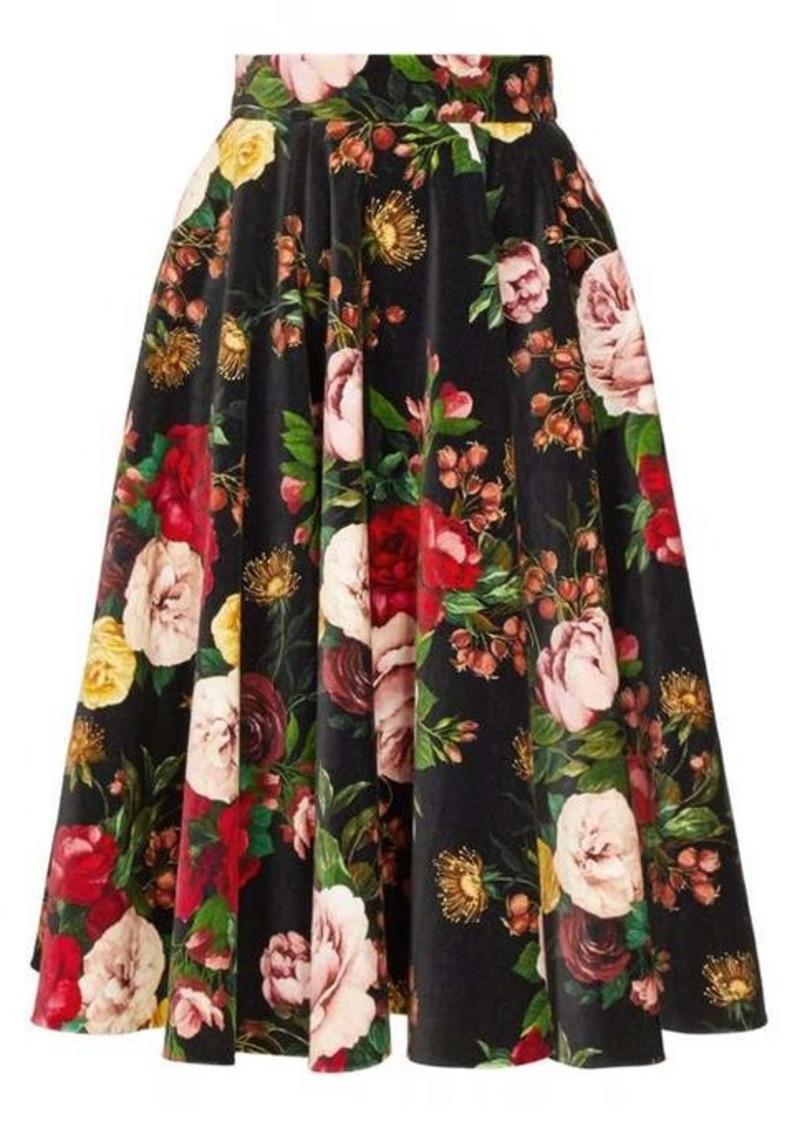 Dolce & Gabbana Rose-print velvet midi skirt