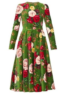 Dolce & Gabbana Rose-print cotton-blend velvet dress
