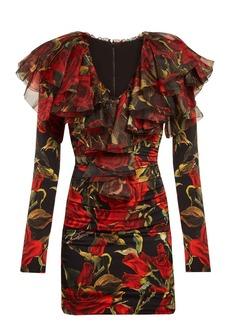 Dolce & Gabbana Roses-print ruched silk-blend dress