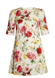 Dolce & Gabbana Round-neck floral-print stretch-silk dress