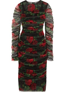 Dolce & Gabbana Ruched Floral-print Cotton-tulle Midi Dress