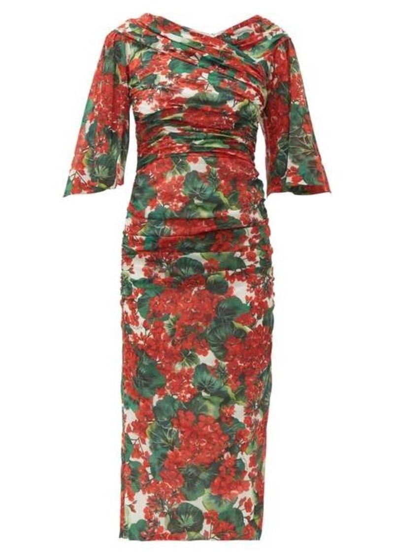 Dolce & Gabbana Ruched geranium-print silk-blend midi dress