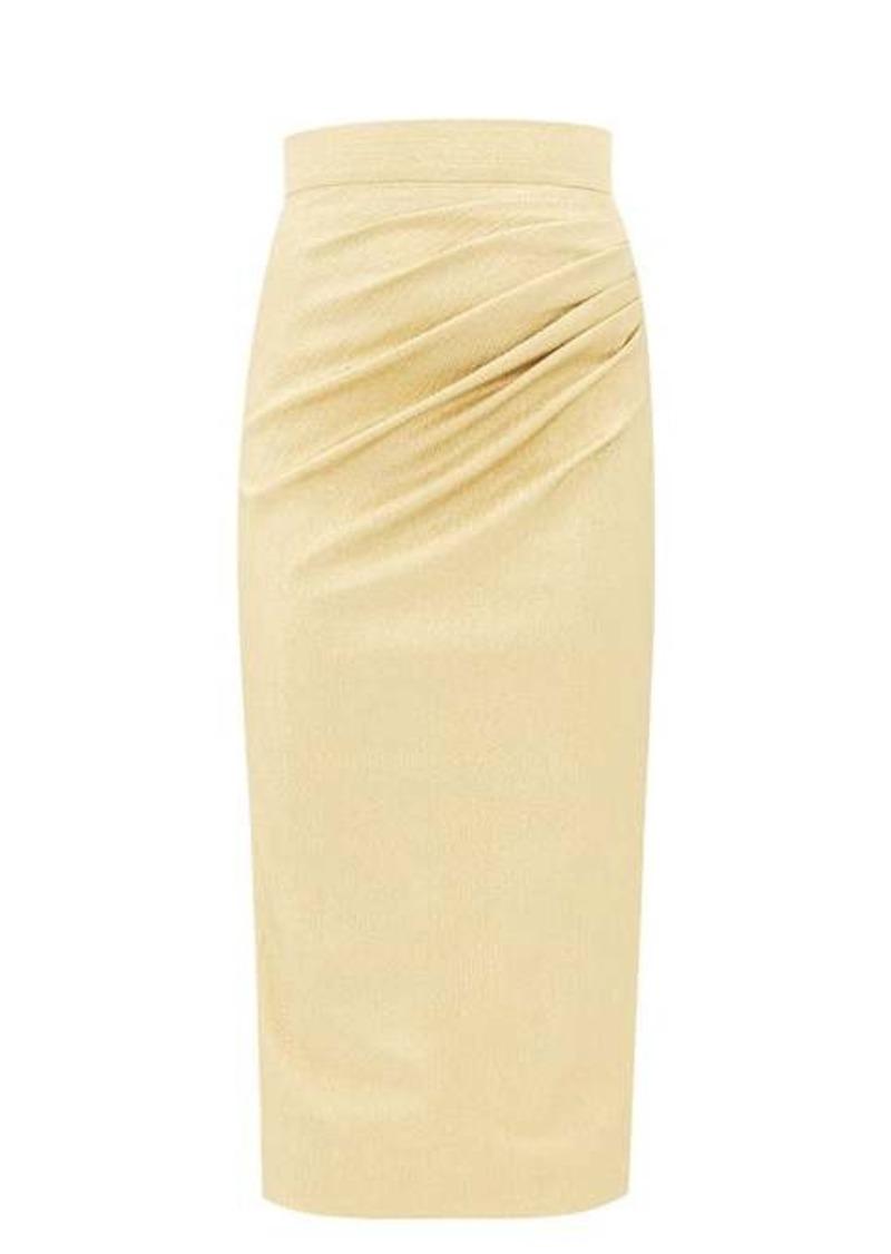 Dolce & Gabbana Ruched silk-blend lamé midi skirt