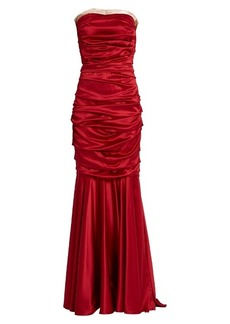 Dolce & Gabbana Ruched strapless silk-blend satin gown