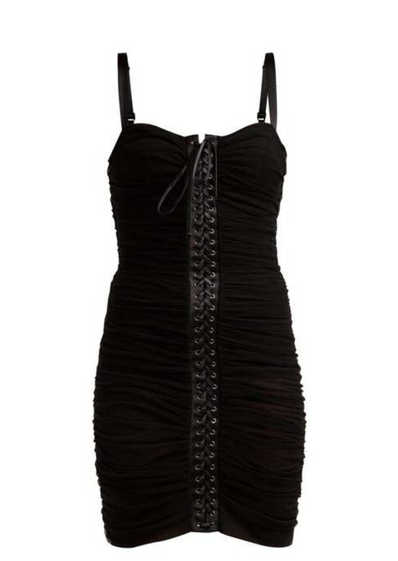 Dolce & Gabbana Ruched tulle lace-up corset dress