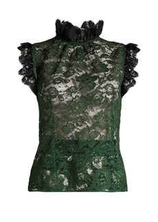 Dolce & Gabbana Ruffle-trimmed cordonetto-lace top