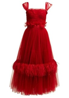 Dolce & Gabbana Ruffle-trimmed tulle & feather gown