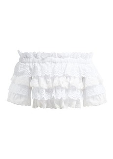 Dolce & Gabbana Ruffled broderie anglaise cotton and silk crop top