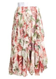 Dolce & Gabbana Ruffled floral-print silk-chiffon midi skirt