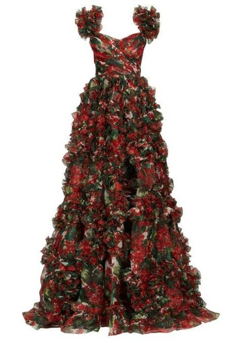 Dolce & Gabbana Ruffled geranium-print silk-organza gown