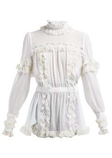 Dolce & Gabbana Ruffled lace-insert silk-blend blouse