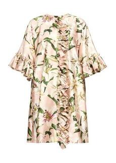 Dolce & Gabbana Ruffled lilium-print shantung coat