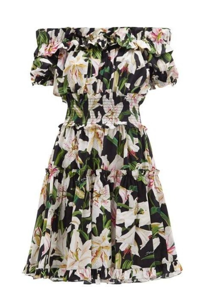 Dolce & Gabbana Ruffled lily-print cotton-poplin bardot dress