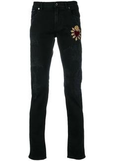 Dolce & Gabbana Sacred Heart patch jeans - Black