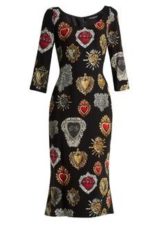 Dolce & Gabbana Sacred Heart-print scoop-neck stretch-cady dress