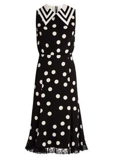Dolce & Gabbana Sailor-collar polka-dot print charmeuse dress