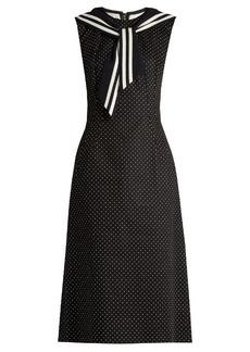 Dolce & Gabbana Sailor-collar polka-dot print drill dress