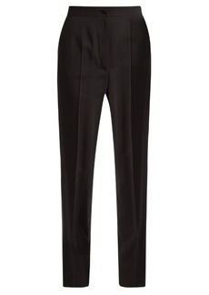 Dolce & Gabbana Satin-striped high-rise crepe trousers
