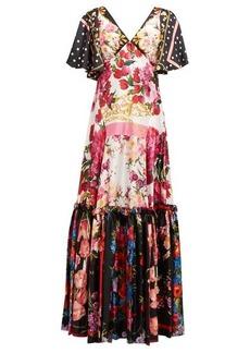 Dolce & Gabbana Scarf & polka dot-print silk charmeuse gown