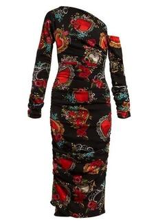 Dolce & Gabbana Secret Hearts-print ruched silk-blend midi dress