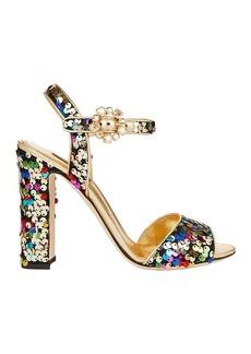 Dolce & Gabbana Sequin Block Heel Sandals