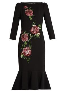 Dolce & Gabbana Sequin-embellished wool-crepe dress