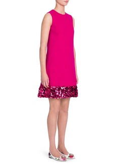 Dolce & Gabbana Sequin Trim Crepe A-Line Dress