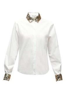 Dolce & Gabbana Sequinned-collar cotton-blend poplin shirt