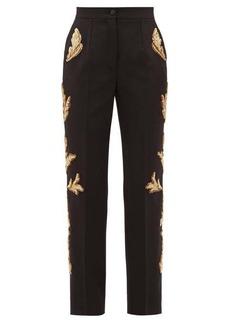 Dolce & Gabbana Sequinned wool-blend straight-leg trousers