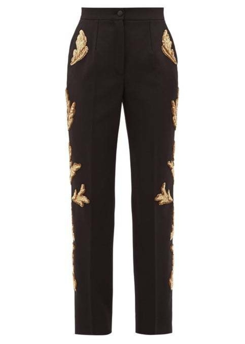 Dolce & Gabbana Sequinned wool-blend straight-leg trousers