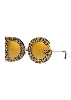 Dolce & Gabbana Shimmer Leopard Print D&G Mirrored Sunglasses
