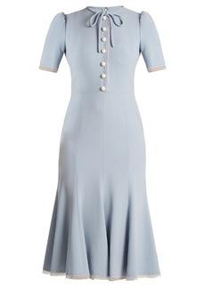 Dolce & Gabbana Short-sleeved fluted-hem cady dress