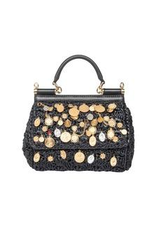 Dolce & Gabbana Sicily Medium Bag In Crochet Rafia
