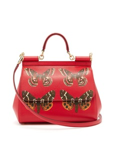 Dolce & Gabbana Sicily medium butterfly-print dauphine-leather bag