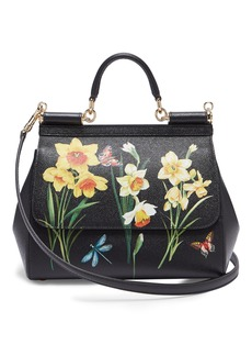 Dolce & Gabbana Sicily medium daffodil-print dauphine-leather bag