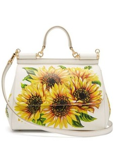 Dolce & Gabbana Sicily medium sunflower-print leather bag