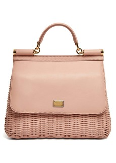 Dolce & Gabbana Sicily medium wicker and leather bag