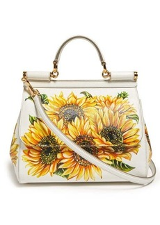Dolce & Gabbana Sicily mini sunflower-print dauphine-leather bag