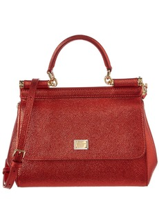 Dolce & Gabbana Sicily Small Metallic Leather Satchel