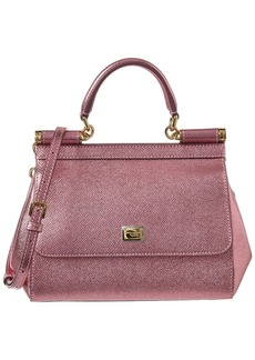 Dolce & Gabbana Sicily Small Metallic Leather Tote