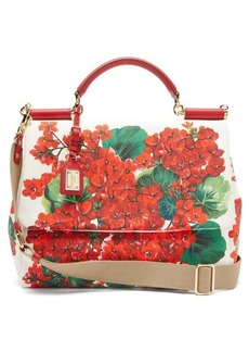 Dolce & Gabbana Sicily Soft large geranium-print canvas bag