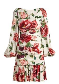 Dolce & Gabbana Silk-blend charmeuse rose and peony-print dress