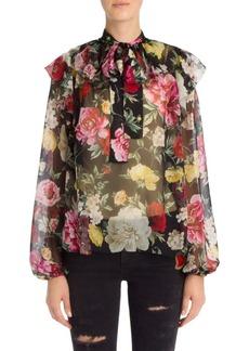 Dolce & Gabbana Silk Chiffon Floral Print Blouse