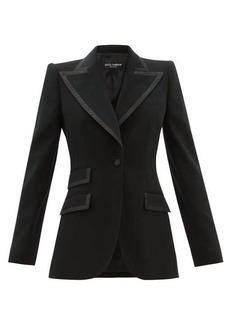 Dolce & Gabbana Single-breasted faille-trimmed wool-blend blazer