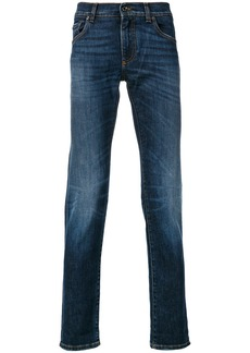 Dolce & Gabbana slim-fit appliquéd jeans - Blue
