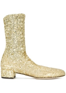 Dolce & Gabbana sparkly stretch ankle boots - Metallic